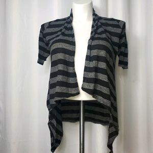 Striped Asymmetrical Knit Bolero Cover  Shawl Wrap